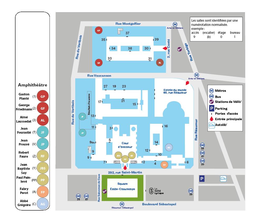 Plan Paris 3e des amphithéâtres